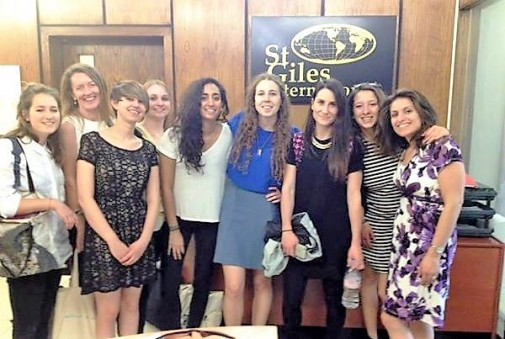 Laura Zanella with her classmates at the St Giles school in central London